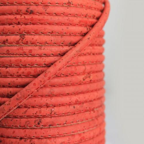 Fio de Cortiça 4mm - Vermelho